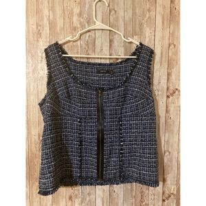 Carlisle Tweed Zipper Sleeveless Top